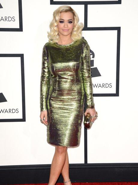 rita ora in gold lanvin dress