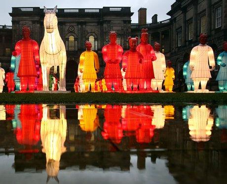 lit up statues