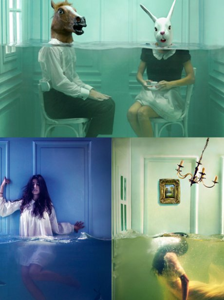 montage of underwater pictures of people