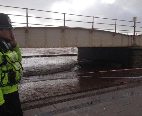 Waves crash onto Dawlish seafront