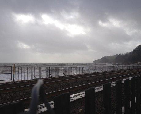 Crashing waves hit Dawlish sea front