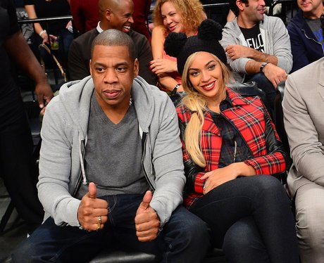 Jay Z and Beyonce in a tartan coat