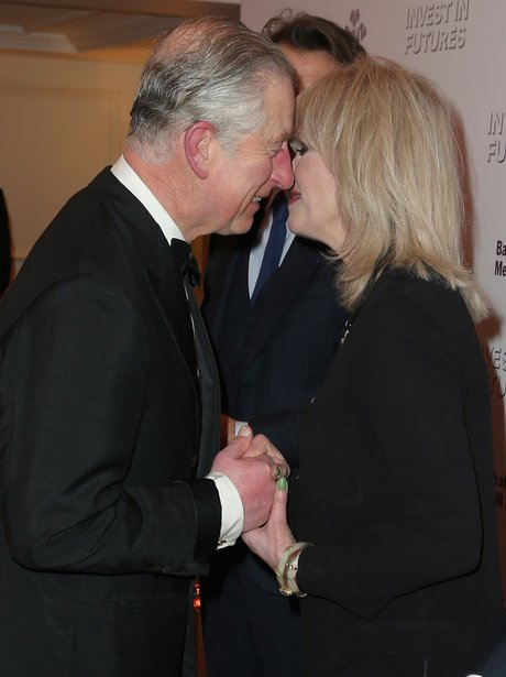 Prince Charles and Joanna Lumley in black