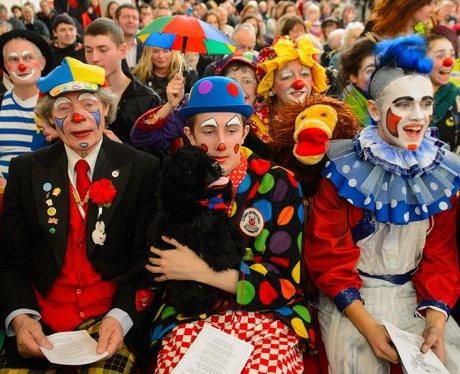 clowns sitting down