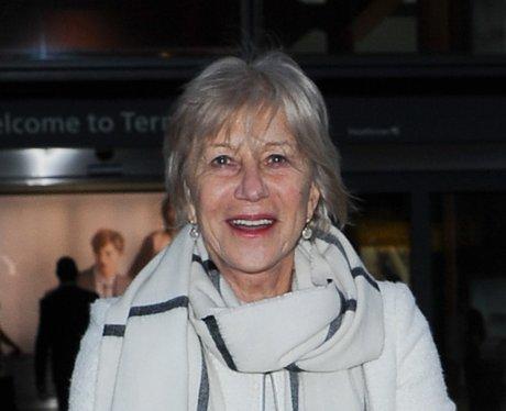 Helen Mirren with no make up at heathrow
