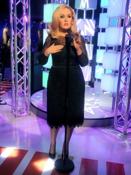 Adele waxwork in black dress