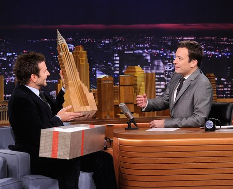 Bradley Cooper and Jimmy Fallon on a chat show