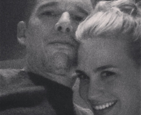 black and white selfie of Ethan Hawke and January Jones