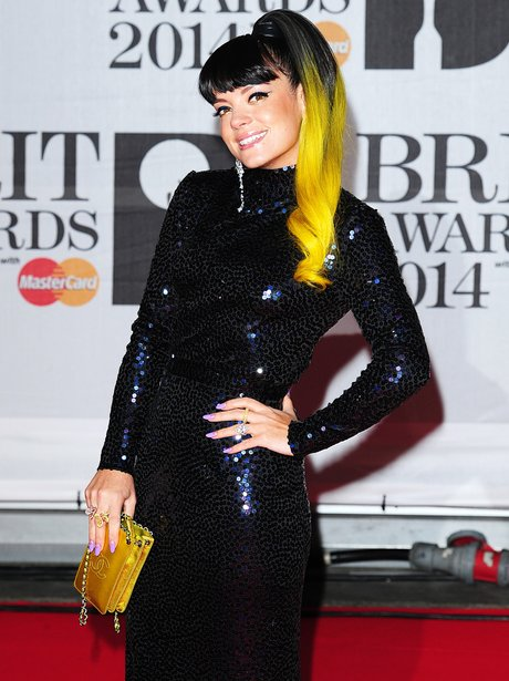 Lily Allen at the Brit Awards 2014 with dip dyed hair