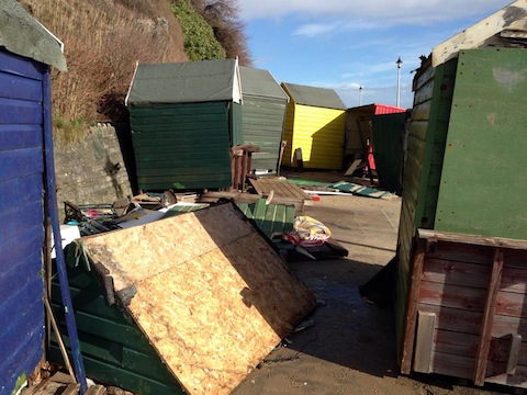 Around 600 beach huts were damaged
