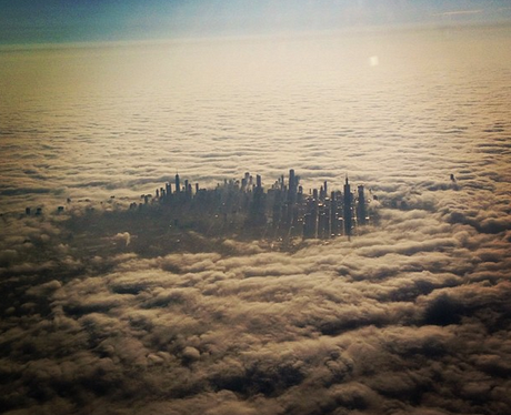 Chicago city in the clouds