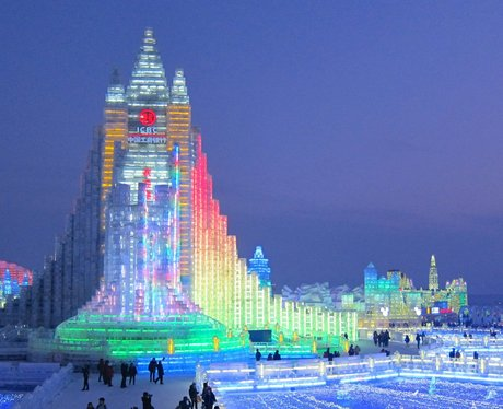 Giant lit up ice sculpture