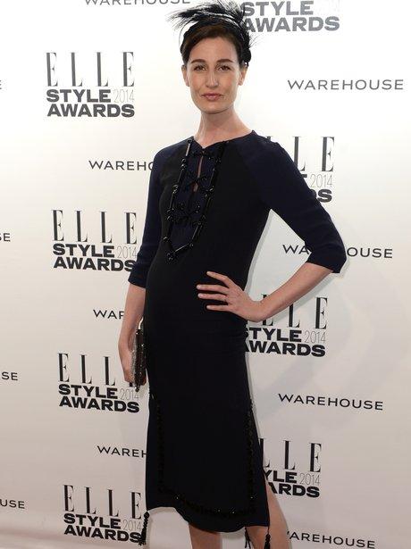 Erin O'Connor in a long sleeve black dress
