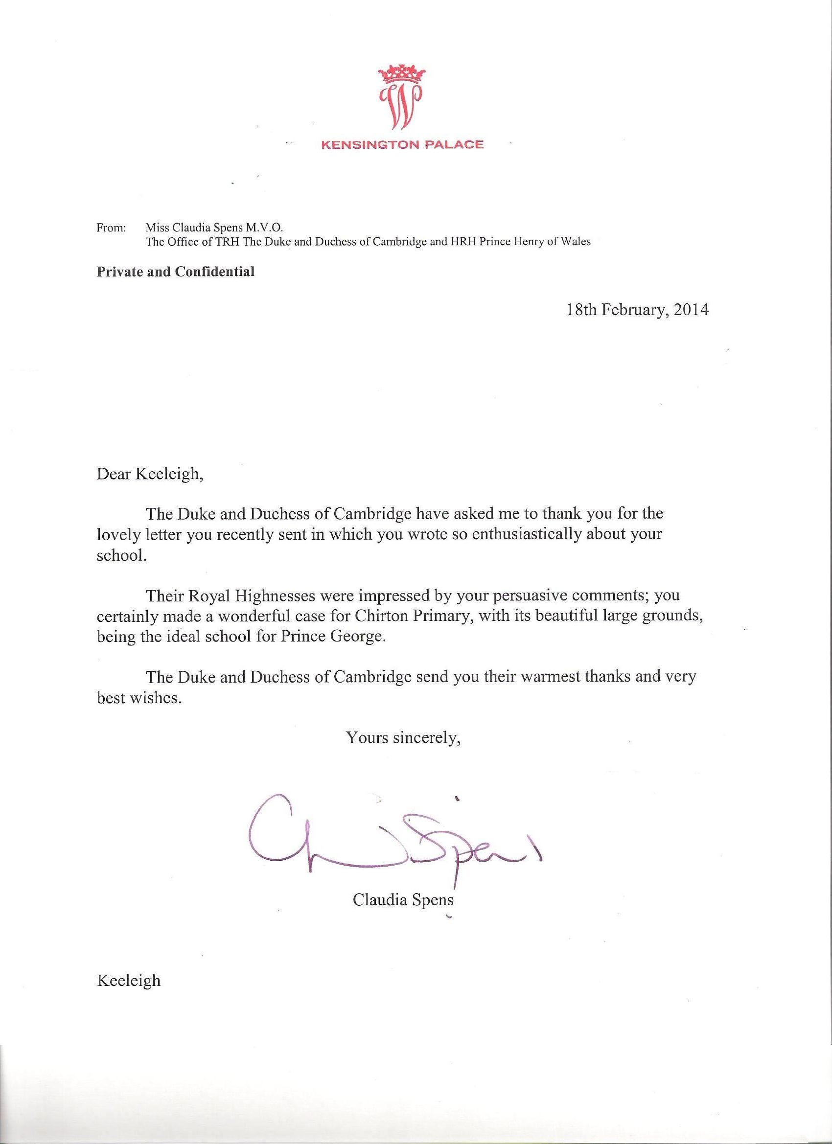 HRH letter
