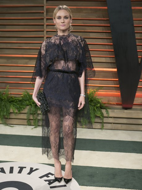 Diane Kruger Oscars 2014 in a charcoal grey lace dress