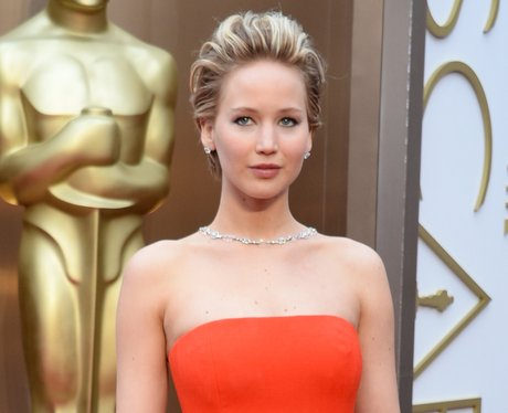 Jennifer Lawrence on the red carpet at the Oscars 2014