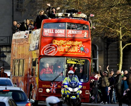 Jenny Jones arrives in Bristol on open-top bus tou