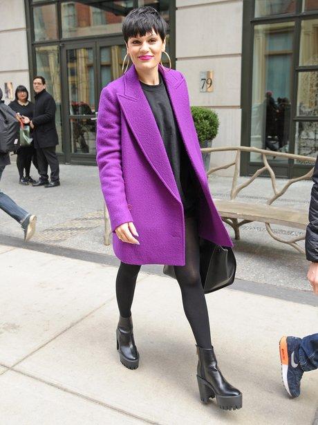 Jessie J wearing a purple coat in New York