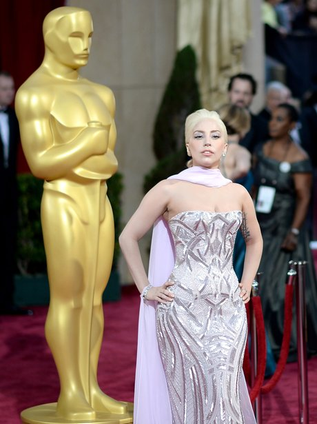 Lady Gaga at the Oscars 2014 red carpet