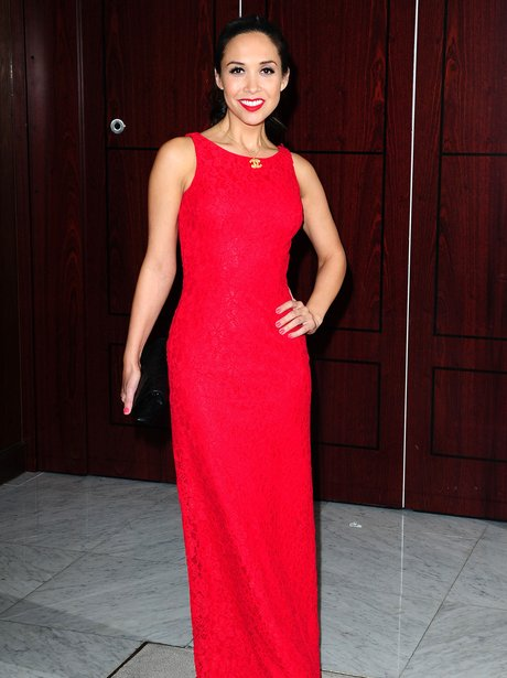 Myleene Klass in a scarlet gown at the Gay and Lesbian Switchboard Gala.