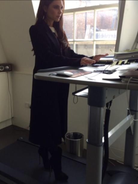Victoria Beckham on a treadmill in heels