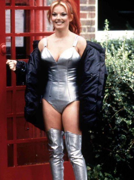 Geri Halliwell in a silver bikini and boots