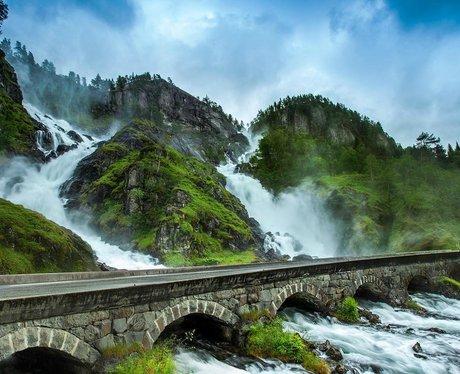 Lateffossen Waterfall in Norway.