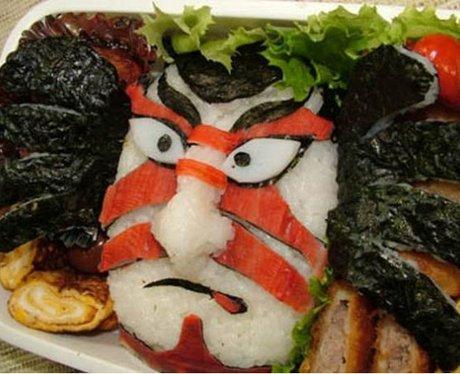 samurai face made of sushi