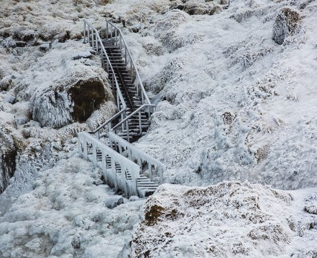 frozen stairs in iceland