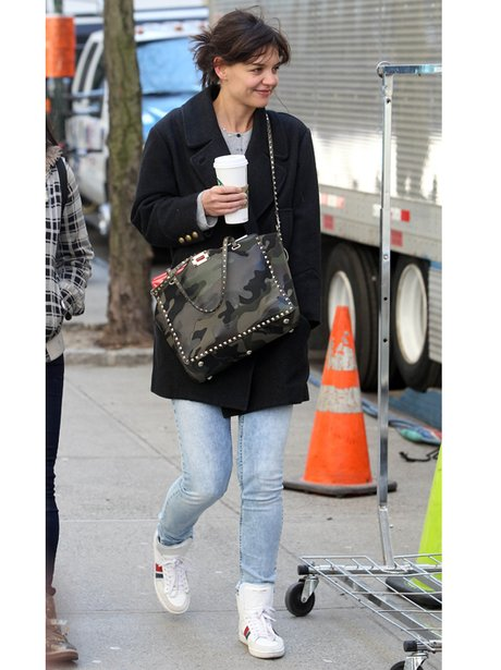 Katie Holmes in jeans and trainers
