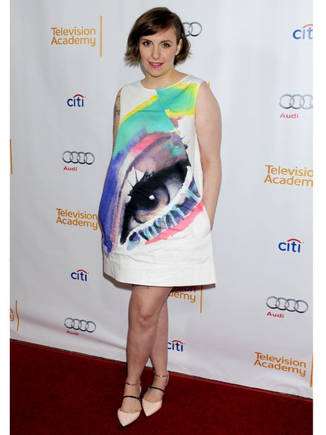 Lena Dunham in a patterned cocktail dress