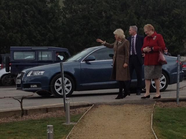 Camilla arrives at Plumpton College