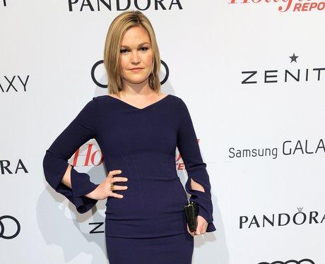 Julia Styles in a navy dress