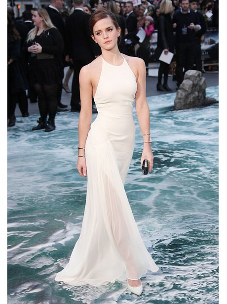 Emma Watson in a halter neck white dress