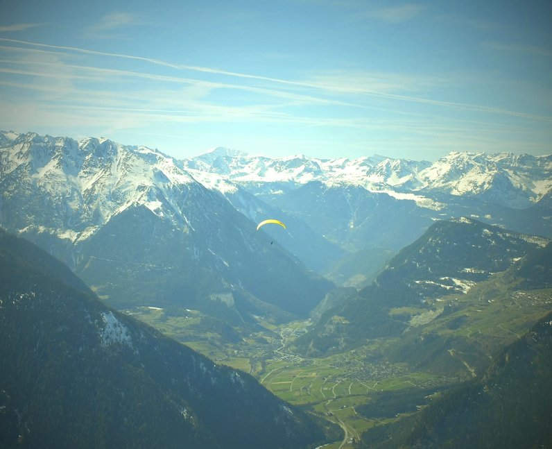 A man parachuting in Switzerland