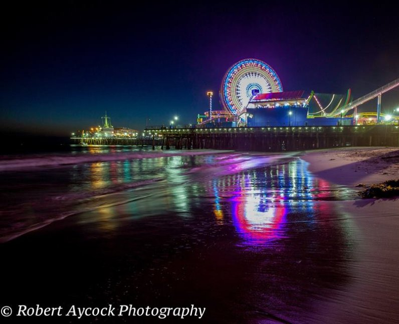 Santa Monica Pier at midnight