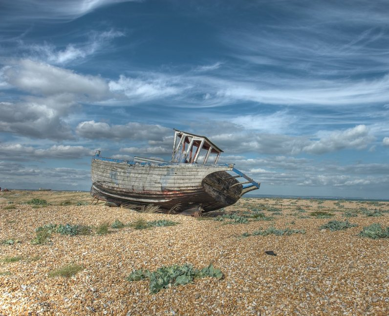 Abandoned boat in Dungeness