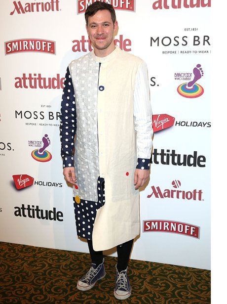 Will Young in a spotty smock
