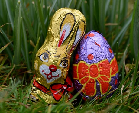 A chocolate Easter bunny and egg