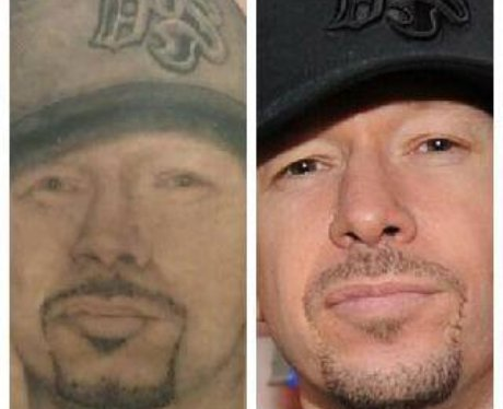 A tattoo of singer Donnie Wahlberg