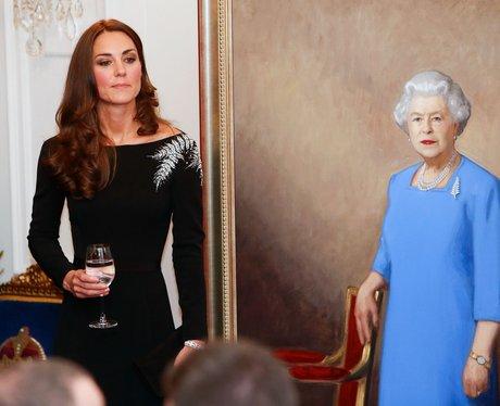 The Duke on her Tour Of Australia in a black dress