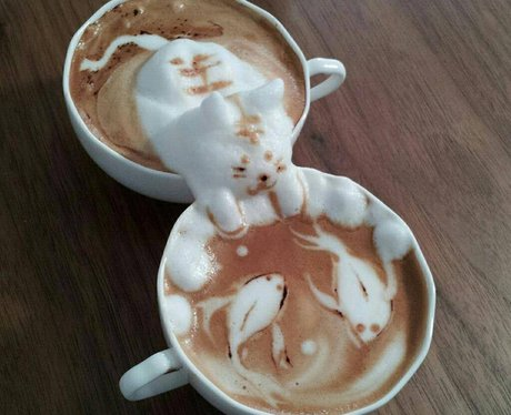 cappuccino foam in the shape of a cat