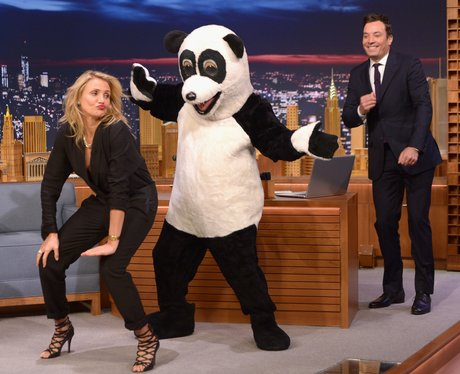 Cameron Diaz dancing on Jimmy Fallon