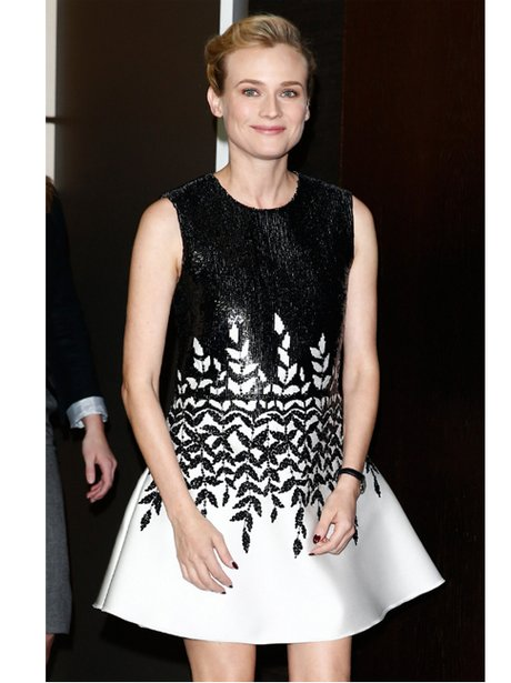 Diane Kruger in a monochrome dress