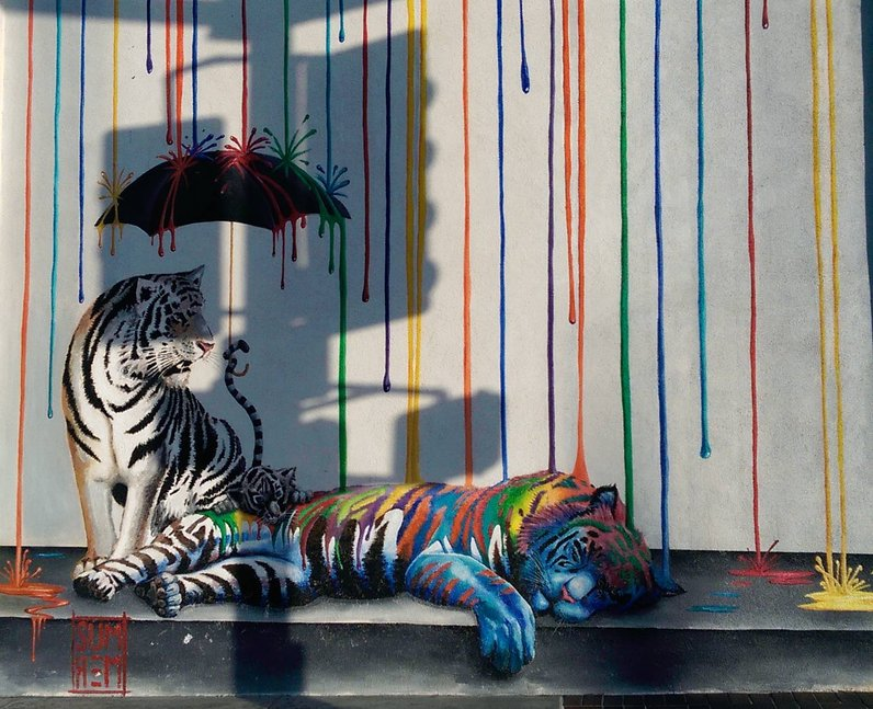 tigers painted on a wall