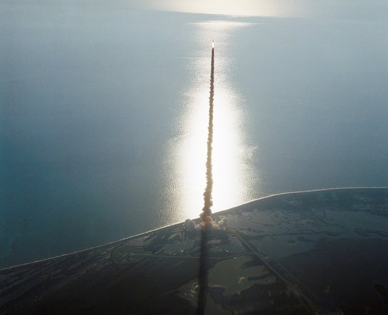 bird eye view of shuttle launch