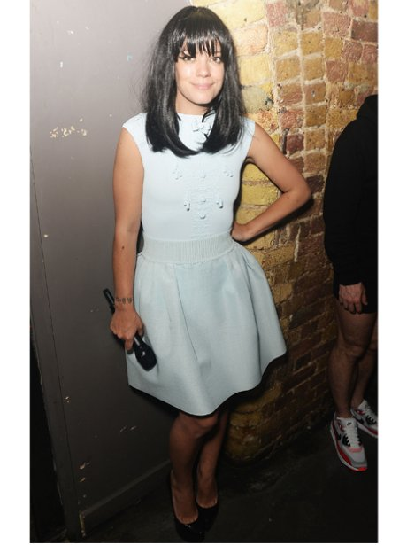 Lily Allen in a white dress