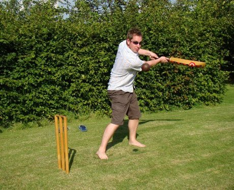 Ian playing cricket
