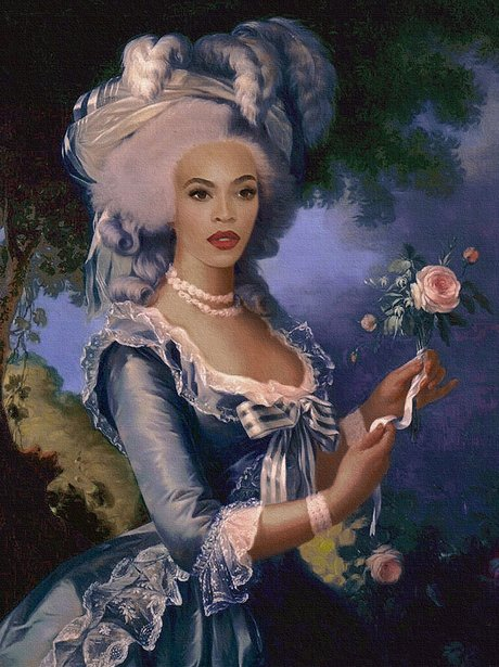 Beyoncé Knowles as a painting, wearing a bonnet.