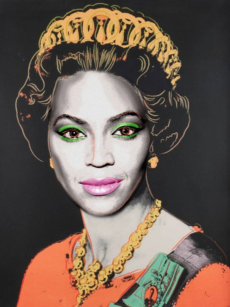 Beyoncé Knowles as Queen Elizabeth II in the style of Andy Warhol